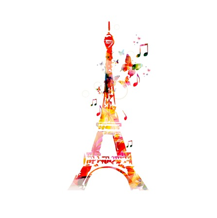 towers: Colorful vector Eiffel Tower background with butterflies