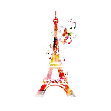 torre: Colorido del vector de la torre Eiffel de fondo con mariposas