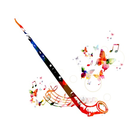 Colorful music background. Alp horn design vector Illustration