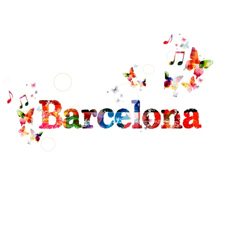 barcelona: Colorful vector Barcelona background with butterflies Illustration