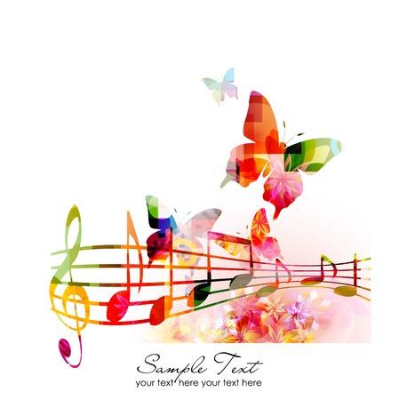 notas musicales: Fondo colorido de la m�sica Vectores