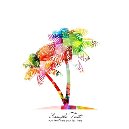 Sunset landscape vector: trừu tượng đầy màu sắc cây cọ vector