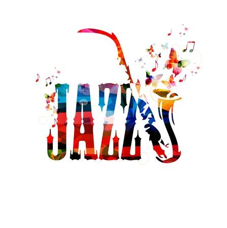 clave de sol: Fondo colorido del vector de jazz con el saxofón