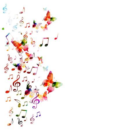 note musicali: Vettore sfondo colorato con farfalle