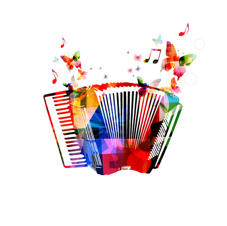 Colorful accordion.  Ilustracja