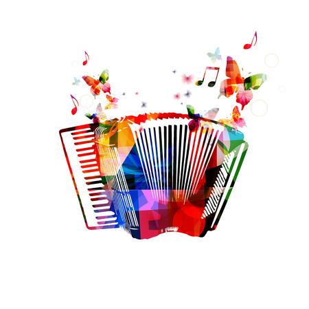 Colorful accordion.  Vectores