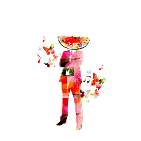 eater: Healthy eater. Man with watermelon head Illustration