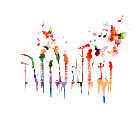 music instruments: Colorful music instruments background with butterflies