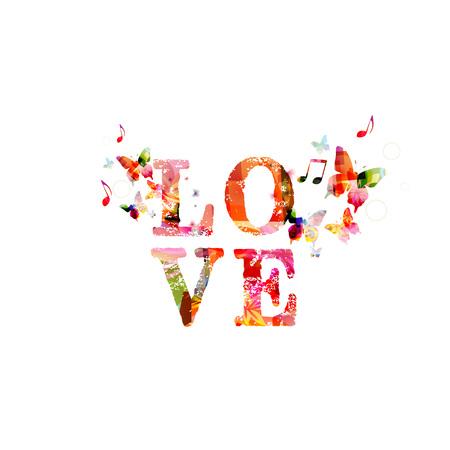 나비와 함께 다채로운 벡터 사랑 배경 스톡 콘텐츠 - 41962460