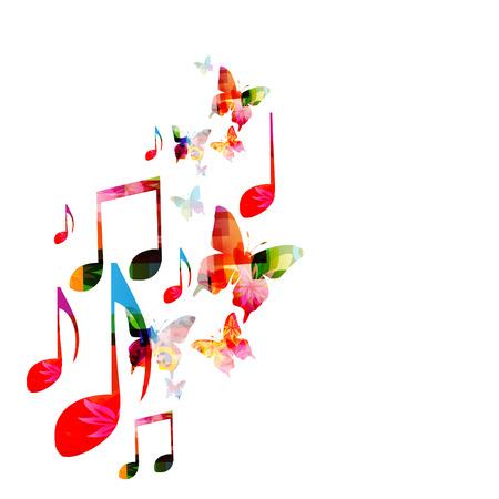 蝶とカラフルな音楽の背景