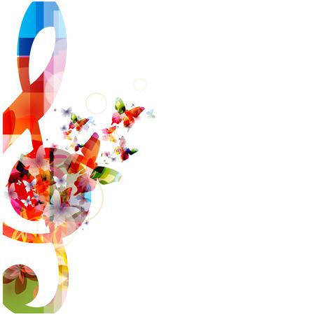 Fondo de música colorido con las mariposas Foto de archivo - 41962459