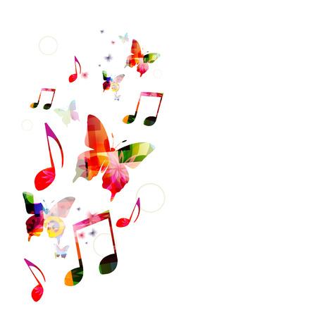 Kleurrijke muziek achtergrond met vlinders