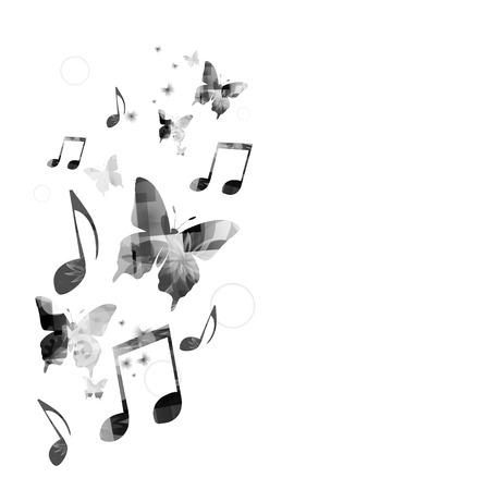 Musik-Hintergrund mit Schmetterlingen Standard-Bild - 41962461
