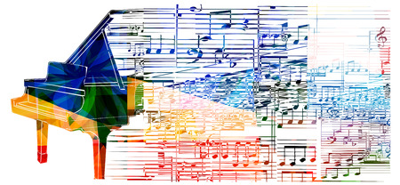 musical ornament: Colorful piano design. Music background