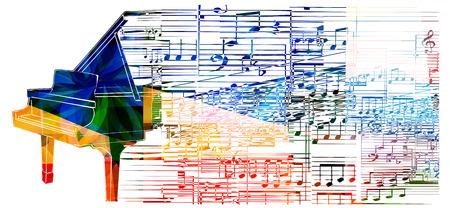armonia: Diseño del piano colorido. Fondo de la música