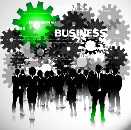 person silhouette: Business people with gears. Vector