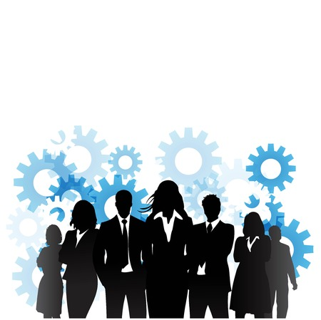 Business people with gears Stock Illustratie