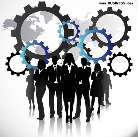 business gears: Business people with gears and world map