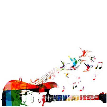Fond coloré de la musique avec la guitare Banque d'images - 43199671
