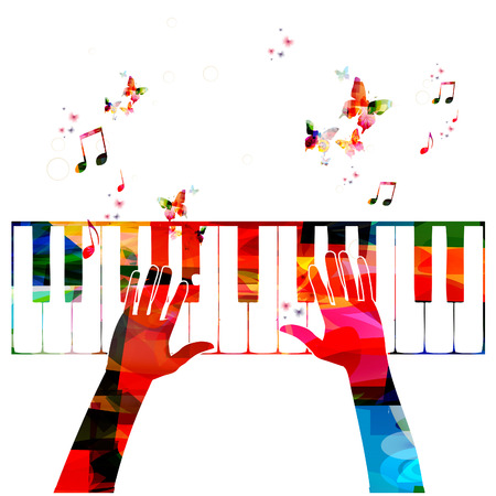 Colorful music background with piano Ilustração