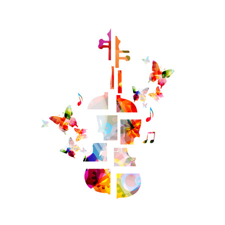 Colorful music background with violoncello