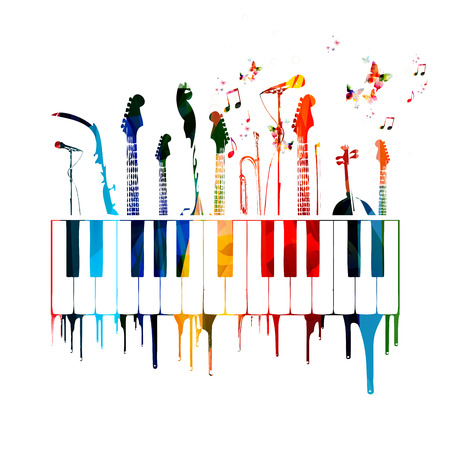 Colorful music instruments background with butterflies