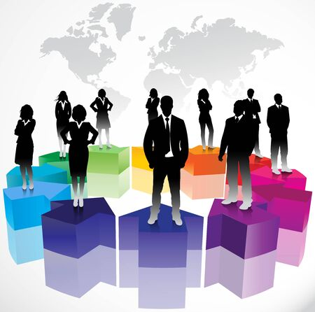 corporate meeting: Business people on arrows background