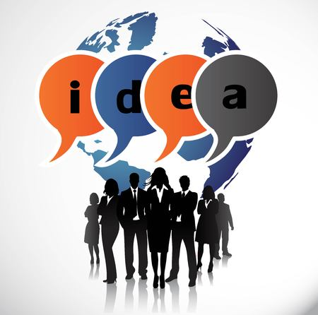 Business people with speech bubbles Illustration