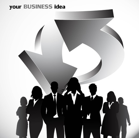 Business people with arrows background