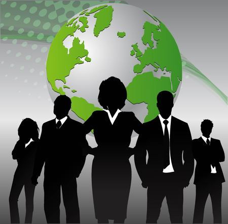 working people: Business people with globe background