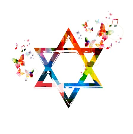 rainbow color star: Colorful vector Star of David symbol background with butterflies Illustration