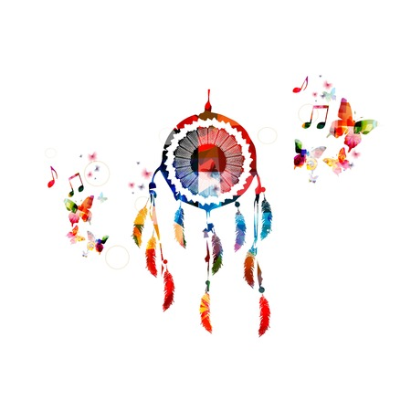 Colorful vector dream catcher background with butterflies Illustration