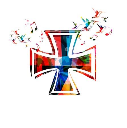 cruz religiosa: Vector de fondo colorido cruz de Malta con los colibr�es Vectores