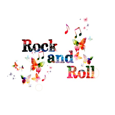 Colorful vector Rock and Roll background with butterflies