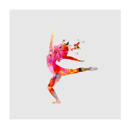 femme papillon: Femmes heureuses dansant Illustration