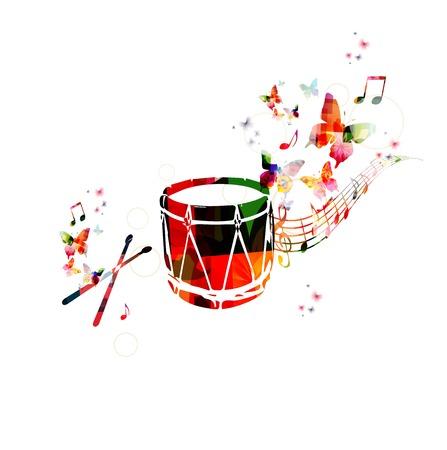 다채로운 음악 배경입니다. 전통적인 터키어 드럼 디자인 벡터 일러스트