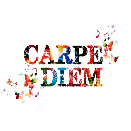 seize: Colorful vector CARPE DIEM background with butterflies seize the day Illustration