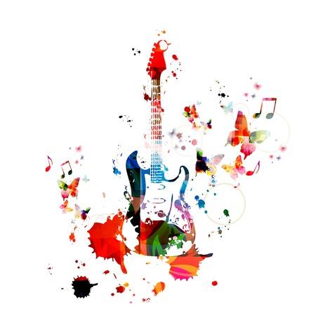 Fond coloré de la musique avec la guitare Banque d'images - 43199892