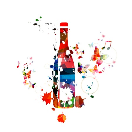 wine colour: Colorful vector bottle background with butterflies Illustration