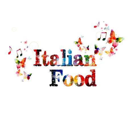 """restaurante italiano: Vector de fondo colorido """"comida italiana"""" con las mariposas"""