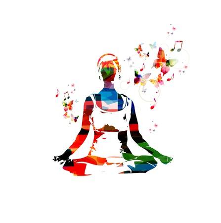 Mujer vector colorido en la actitud de la yoga de fondo con mariposas Foto de archivo - 43199918