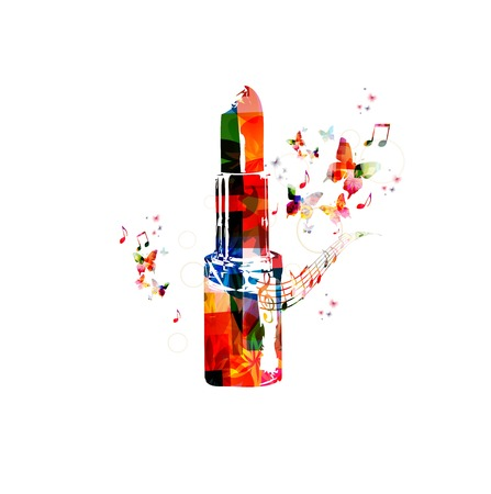 make up: Colorful vector lipstick background with butterflies