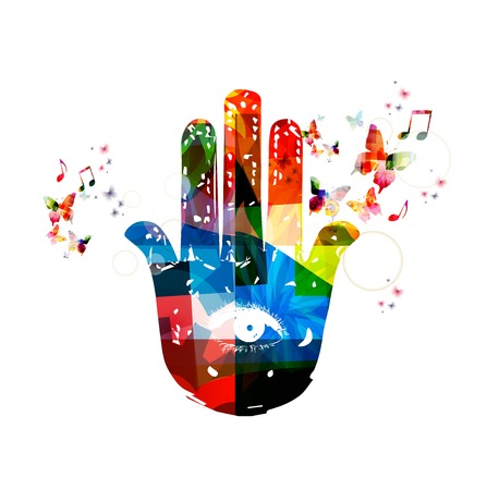 on hands: Colorful vector hamsa hand symbol background with butterflies