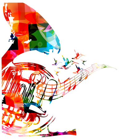 musical notes background: Colorful french horn with hummingbirds