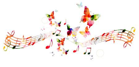 Fondo colorido con las notas de la música Foto de archivo - 43199926
