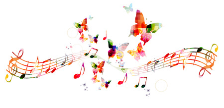 nota musical: Fondo colorido con las notas de la música Vectores