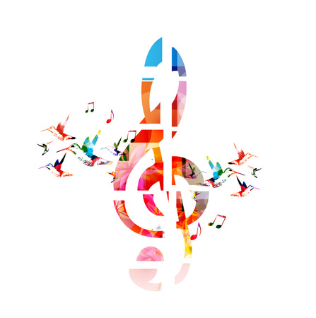 Colorful G-clef design with hummingbirds