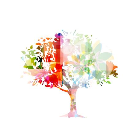 Abstract colorful vector tree Illustration