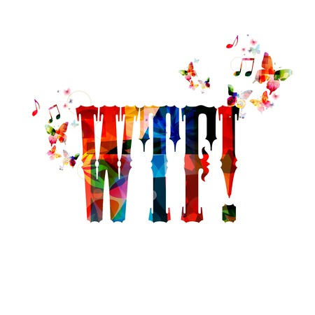 wtf: Colorful vector WTF! background with butterflies