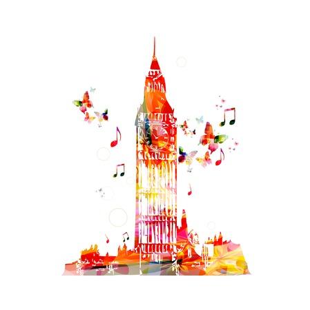 design vector: Colorful Big Ben vector design Illustration